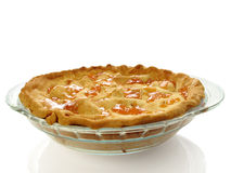 Apple pie. Fresh-baked apple pie with apricot glaze on white Royalty Free Stock Images