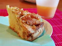 Apple pie. Breakfast with a slice of apple pie and orange juice royalty free stock images