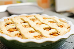 Apple pie. Fresh baked apple pie on a rack royalty free stock photo