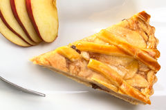 Apple Pie. A slice of delicious apple pie with apple slices and fork photographed from above (Selective Focus, Focus on the top of the apple pie Royalty Free Stock Photos