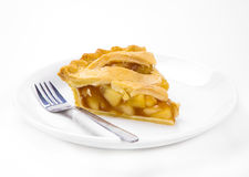 Apple Pie. Plate of apple pie slice on white Stock Image