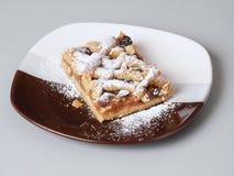 Apple pie. Slice of Apple Pie on three-coloured plate Royalty Free Stock Image