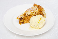 Apple pie. With vanilla ice cream Royalty Free Stock Photo