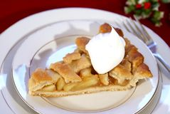 Apple Pie. Slice of apple pie with lattice crust, dollop of whipped cream, and coffee Royalty Free Stock Photos