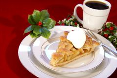 Apple Pie. Slice of apple pie with lattice crust, dollop of whipped cream, and coffee Royalty Free Stock Photography