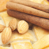 Apple pie, almonds and cinnamon Royalty Free Stock Photos