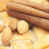 Apple pie, almonds and cinnamon Royalty Free Stock Photos