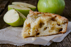 Apple pie. Apple cake slice. Charlotte cake. stock photo