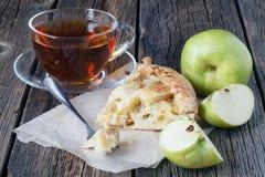 Apple pie. Apple cake slice. Charlotte cake. stock images