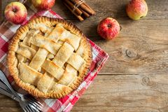 Apple Pie. Dessert with Lattice. Homemade American Pie from Organic Autumn Apples royalty free stock photo