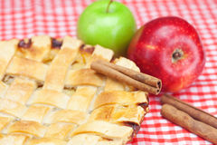 Apple pie, apples, cinnamon and almonds Stock Photo