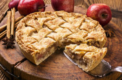 Apple Pie. As closeup on a wooden cutting board Royalty Free Stock Photography