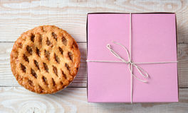 Apple Pie and Bakery Box Royalty Free Stock Photo