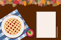 Apple pie with blank notepad ready for your text Stock Images