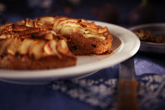 Apple pie on a blue tablecloth Stock Photos
