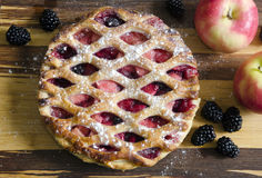 Apple pie. Bramley apple and blackberry pie royalty free stock images