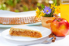 Apple pie on breakfast table royalty free stock photo