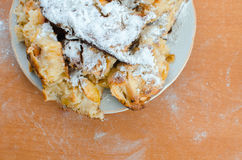 Apple pie cake. Homemade pie Apple pie on a plate on the table closeup Stock Photography