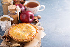 Apple pie with caramel syrup and cinnamon Royalty Free Stock Photos