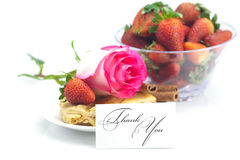 Apple pie, card , cinnamon, pink rose, almonds and strawberries Royalty Free Stock Image