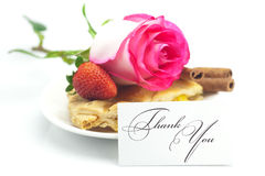 Apple pie, card , cinnamon, pink rose, almonds and strawberries Royalty Free Stock Photo