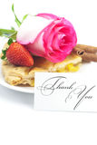Apple pie, card , cinnamon, pink rose, almonds and strawberries Royalty Free Stock Photography