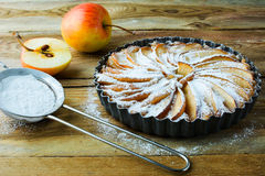 Apple pie and caster sugar Royalty Free Stock Photos