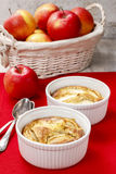 Apple pie in ceramic bowl Royalty Free Stock Image