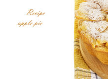 Apple pie, charlotte on a towel isolated on white background Royalty Free Stock Images