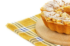 Apple pie, charlotte on a towel isolated on white background Royalty Free Stock Photo