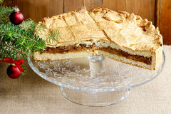 Apple pie in christmas setting. Cake on wooden table, Royalty Free Stock Photography