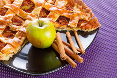 Apple pie with cinnamon. Apple tart with cinnamon on the plate Royalty Free Stock Image