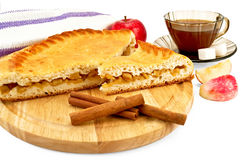 Apple pie with cinnamon and apples Stock Photography