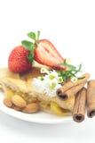 Apple pie, cinnamon,chamomile and strawberries Stock Photo
