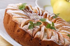 Apple pie with cinnamon and mint closeup Royalty Free Stock Image