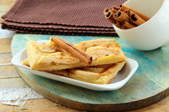 Apple pie and cinnamon stick Royalty Free Stock Photo