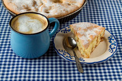 Apple pie and coffee mug. On the table royalty free stock photos