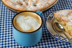 Apple pie and coffee mug. On the table stock photography