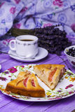 Apple pie, cottage cheese with blueberries and coffee Stock Photography