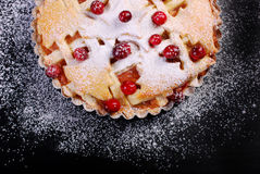 Apple pie with cranberry on black table Royalty Free Stock Image