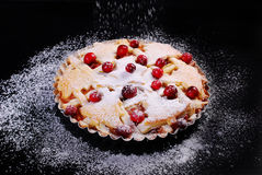Apple pie with cranberry on black table Stock Photo