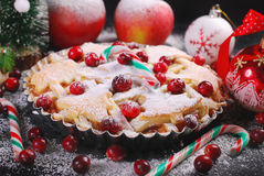 Apple pie with cranberry for christmas in winter scenery Royalty Free Stock Images