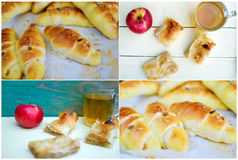 Apple pie and crescent rolls. Slices of pie with apples and fresh baked croissants Stock Photography