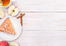 Apple pie with a cup of tea. Stock Images