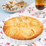 Apple pie with cup of tea Royalty Free Stock Image