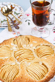 Apple pie with cup of tea Stock Photo
