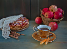 Apple pie and cup of tea Royalty Free Stock Image