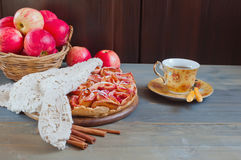 Apple pie and cup of tea Royalty Free Stock Images