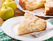 Apple pie with custard Stock Images