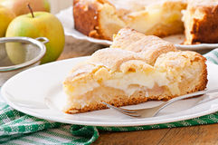 Apple pie with custard Stock Photo